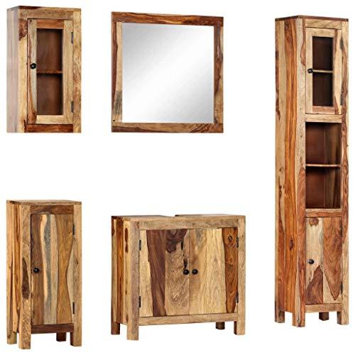 vidaXL Sheesham-Holz Massiv Badmöbel Set 5-TLG. Badezimmermöbel Badezimmer Badschrank Spiegel Schrank Unterschrank Hochschrank Seitenschrank Wandschrank