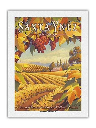Valle de Santa Ynez, California - Ballard, Buellton, Los Alamos, Los Olivos - País del vino de California de Kerne Erickson - Impresión de Arte Papel Premium de Arroz Unryu 46x61cm