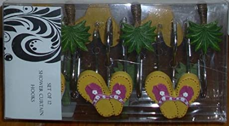 flip flops and palm trees shower curtain hooks