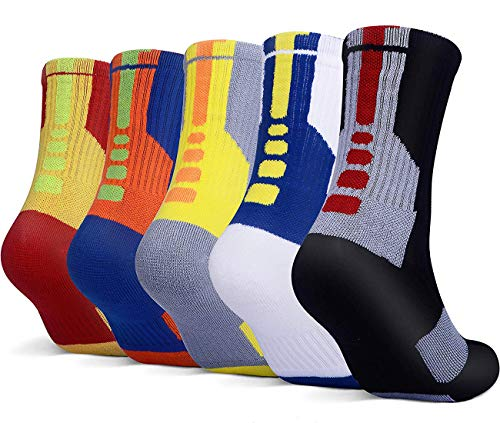 5 Pairs Mens Athletic Crew Socks Basketball Cushioned Thick Sport Long Compression Socks,6.5-11.5