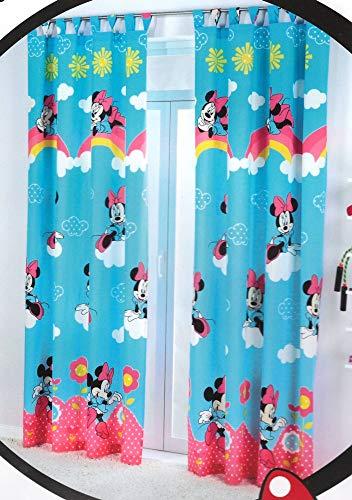 Cortina de visillo Disney Mickey/Minnie 140 x 240 cm para habitación infantil • Niñas Sheer Curtain (Minnie • Juego de 2 cortinas gruesas)