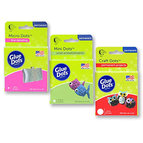 Glue Dots Crafter's Pack-Craft, Mini & Micro Dots Rolls, Clear, 825 Total (38134), 3-Pack