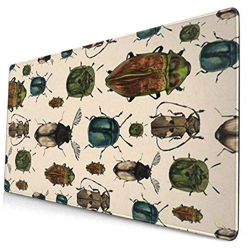 Leila Marcus Großes Mauspad mit Insekten, Gaming-Matte für Computer, 39,5 x 74,1 cm, rutschfeste Gummi-Mauspads für Büro/Zuhause, Laptop, Mauspad