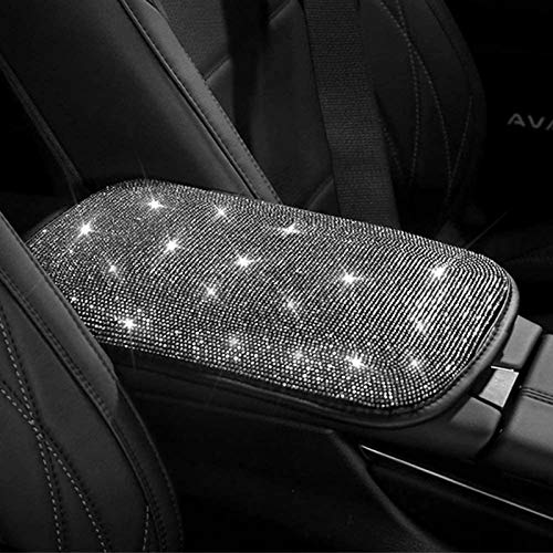 dayutech Bling Bling Car Center Console Cover Car Armrest Cover Auto Arm Rest Cushion Pads Center Console Armrest Protector Fit for Most Vehicle, SUV, Truck Car Accessories for Women (White)