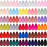 720 Pieces 30 Sets Short Stiletto Press on Nails Colorful Acrylic Nails Full Cover Short Press on False Nails Artificial Almond Shape Fake Nails Kit for Nail Art Salon, 30 Colors