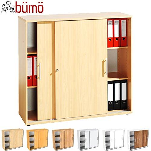 bümö® Schiebetürenschrank mit Schloss | Aktenschrank abschließbar für Ordner | Büroschrank mit Schiebetüren für Akten in Buche