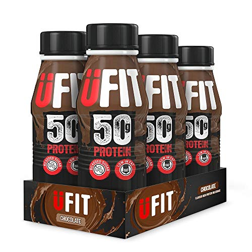 UFIT High 50g Protein Shake, No Added Sugar, Low Fat – Chocolate Flavour Ready To Drink (Pack of 6 x 500ml)