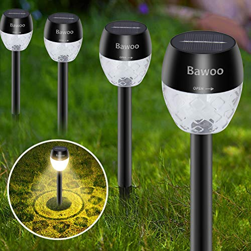 Bawoo Lampada Solare Giardino Esterno 8Pcs LED Luci Solari Giardino Lampade Da Esterno Per Prato LED Lampade Solari Terra IP65 Impermeabile Faretti Solari Luce Inox Paesaggio Strade (Bianco Caldo)