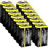 kraftmax 16er Pack Xtreme 9V Block Hochleistungs- Batterien ideal für 10 Jahres Rauchmelder - 6LR61 9 Volt Longlife Blockbatterie mit maximaler Lebensdauer