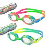 USHAKE Kid Swim Goggles, Anti-Fog Lens and Hypoallergenic Silicone Gaskets Child Swimming Goggles for Kids and Early Teens (Green&RED Mix 2 Pack)