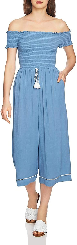 1.State Womens OffTheShoulder Crinkled Jumpsuit bluee M