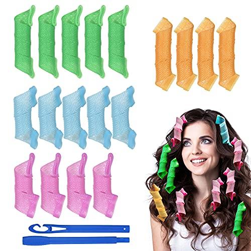 URAQT Lockenwickler Curler, 18pcs DIY Magic Haar Wellen Locken Wave Styling Kit für Lange Haare Mädchen den Heimgebrauch Waves Styler mit Styling-haken (25cm,15cm)