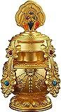 Wddwarmhome Decoraciones tibetanas para la Forma de la Botella de casa, la decoración del Budismo Zen con los Ocho Patrones propicios de Fengshui Wealth Home Altar Adornos, Oro (Color : Gold)