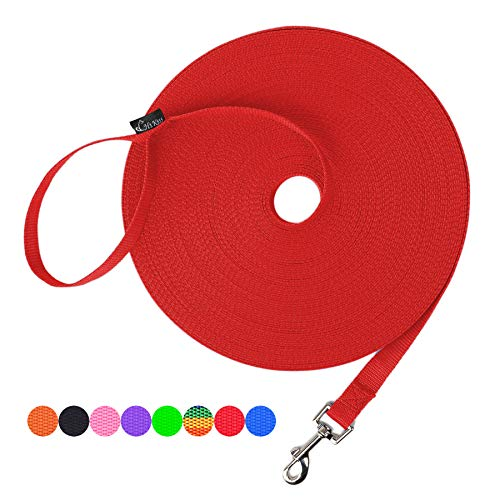 Hi Kiss Dog/Puppy Obedience Recall Training Agility Lead - 15ft 20ft 30ft 50ft 100ft Training Leash - Great for Training, Play, Camping, or Backyard (30 Feet, Red)