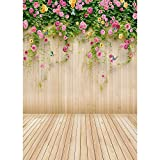 hullonguuo Background Cloth, Wooden Planks Flower Photography Background Cloth Backdrop Decor (0.4X0.6m)