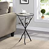 "FirsTime & Co. Aged Bronze Bird and Branches Tripod Side Glass Tabletop Accent Table, 24"" H x 14"" W x 14"" D"