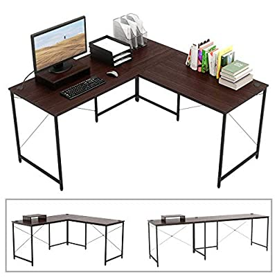 "Bestier L-shaped computer desk, 95.5"" Two Person Large Gaming Office Desk, Adjustable L-Shaped or Long Desk Two Method with Free Monitor Stand, Home Writing Desk Double Table Build-in Cable Management from CZ"