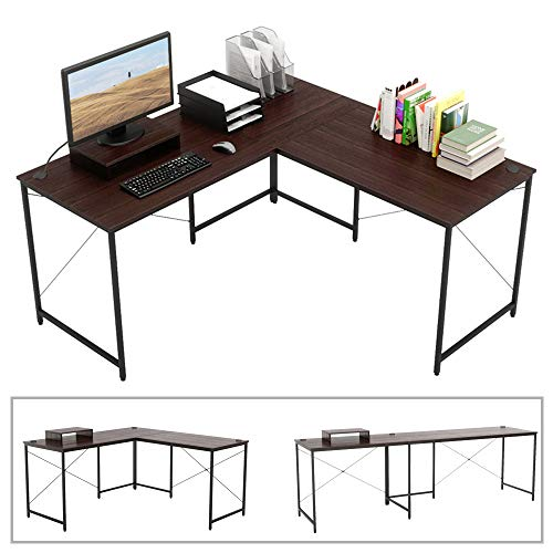 Bestier L-shaped computer desk, 95.5' Two Person Large Gaming Office Desk, Adjustable L-Shaped or Long Desk Two Method with Free Monitor Stand, Home Writing Desk Table Build-in Cable Management (Brown