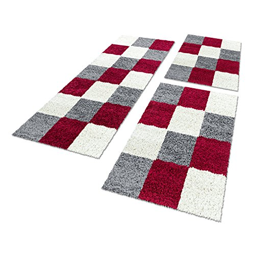 Unbekannt Shaggy Hochflor Teppich Carpet 3TLG Bettumrandung Läufer Set Schlafzimmer Flur, Farbe:Rot, Bettset:2x60x110+1x80x250