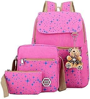 مجموعه حقائب الظهر متعددة للبنات - لون زهري