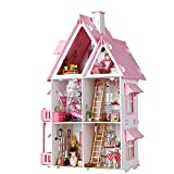 XCXDX Rosa Puppenhaus, Handgefertigtes Miniaturhausmodell, Gartenhaus Mit LED, Intellektuelles...