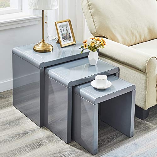 AINPECCA Nest of Tables High Gloss Grey Nesting Tables with Tempered Glass Top (Grey, Grey tempered glass top)