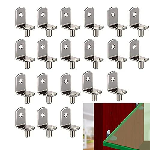 Clavijas de Soporte de Estante 20Pcs Clavijas De Estante Clavijas de Estante de Metal Soporte de Baldas Tacos de Soporte de Estantería de Metal Niquelado L Forma Escuadra de Soporte Para Estante 6MM