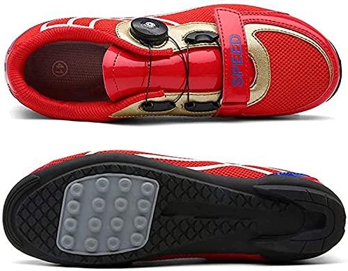 WYUKN Rennrad-Schuhe, MTB-Fahrradschuhe, Herren, leicht, atmungsaktiv, für Mountainbiker, Rot - 43EU