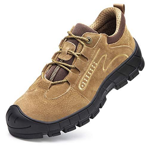 [Aoop] 防水 安全靴 ハイカット ブーツ 作業靴 メンズ スニーカー 防寒 鋼先芯 おしゃれ セーフティーシューズ 軽量 通気 防滑 登山靴 衝撃吸収 耐摩耗 ワーキングシューズ 9170 ブラウン 28cm/46