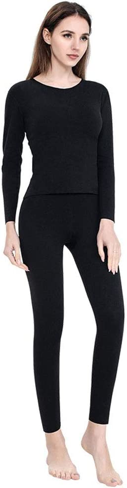 ZXYWW Womens Thermal Underwear Set Long Johns with Double-Sided Fleece, Ultra Soft Top & Bottom Base Layer for Skiing/Biking(Gift for Family),Black,XXXL