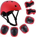 KidsHelmetAdjustableforAges3to8YearsOld Toddler Boys and Girls, Sports Protective Gear Set Knee Elbow Wrist Pads for Skateboarding Bicycling Hiking Hoverboard Rollerblading. (Red)