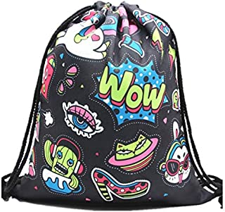 Cute Robot Cartoon Women Backpack Fitness Yoga Sports Women Drawstring Bag Storage Bag School Girls Schoolbags Bag