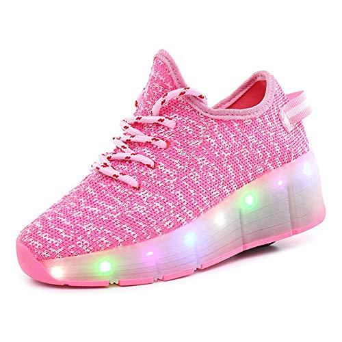 FTYUNWE Jungen Mädchen Rollschuhe mit Rollen LED Lichter Schuhe 7 Farben Leuchtend Rollenschuhe USB Aufladbare Blinken Schuhe mit Rollen Skateboardschuhe Kinder Outdoor Gymnastik Sportschuhe,Pink-40
