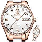 OLEVS Classic Mechanical Women Watch White Dial Ceramic Automatic Self Winding Watches for Women Luxury Dress Rose Gold Stainless Steel Waterproof Luminous Diamond Wrist Watches