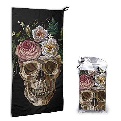 DJNGN Skull Clown Flowers Head Gothic The Arts Anatomy Toalla de Playa de Microfibra de Secado rápido Toallas de Playa livianas y súper absorbentes para Gilrs Niños Adolescentes Adultos 15.7 'X 31.5'