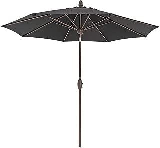 SORARA Patio Umbrella 9' Outdoor Table Market Umbrella with Push Button Tilt&Crank&Umbrella Cover, 8 Ribs, Black