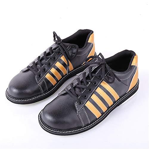 JJK Zapato De Bolera, Unisex De Cuero Zapatos De La Zapatilla De Bolos Atan para Arriba Las Zapatillas De Deporte Tazón Antideslizante Zapato del Deporte De Interior para Hombres Y Mujeres,Naranja,45