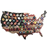 Woofdog USA Beer Cap Map. Rustic Stars and Stripes Design for Craft Beer Collectors. Display Your...