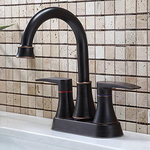 VALISY 2-Handle Oil Rubbed Bronze Bathroom Sink Faucet, 4 Inch Centerset Bath Lavatory Vanity Faucet Set for Bathroom Sinks with Pop-up Drain & Water Hoses