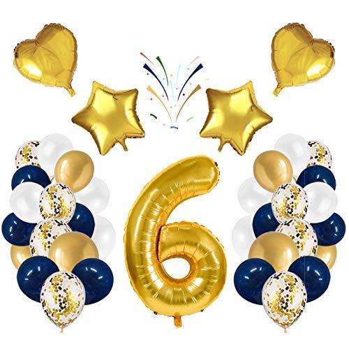 Globo número 6 Korins, número gigante 0 1 2 3 4 5 6 7 8 9 Globo de papel de aluminio con 24 globos de confeti de látex, decoración de aniversario de fiesta de cumpleaños