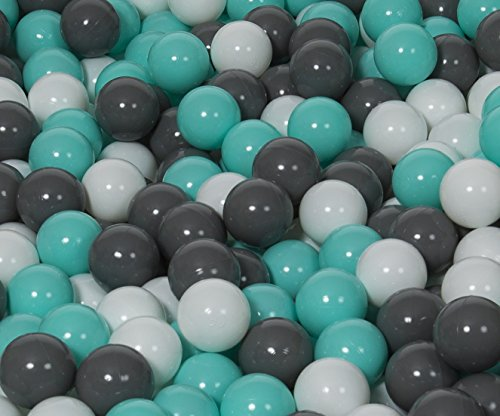 Velinda Set de 150 Balles,Boule Colorée en Plastique Souple,O7cm,Enfant,Piscine,Jouets (Couleurs des Balles: Blanc, Gris, Turquoise)