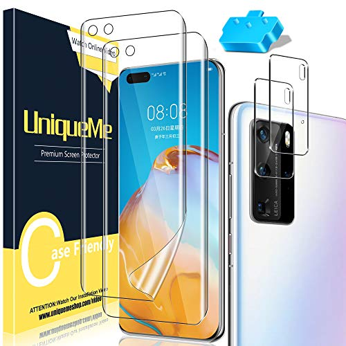 [3+2 Pack] UniqueMe Full Coverage Flexible TPU Screen Protector and Tempered Glass Camera Lens Protector for Huawei P40 Pro [Easy Installation Tool][Bubble Free]