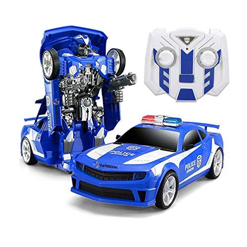 YARMOSHI Policía Coche Robot W / Mando A Distancia Y Cargador USB. Luces Intermitentes - Juegos De Sonidos - 2 Modos - Combate Y Baile.Regalo Divertido para niños y niñas, 40x20x17cm. Edad 5+ (Azul)