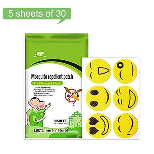 Parches antimosquitos (x30), Parches repelentes de Insectos Naturales portátiles, para niños y Adultos, no tóxico, hipoalergénico y de Larga duración, As, Smiley Face