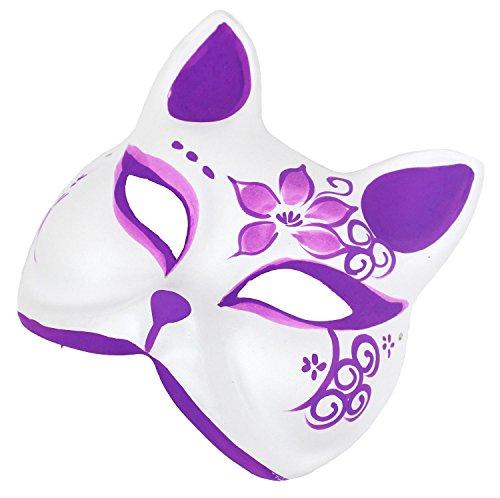 『StyleCoS 狐面 狐 お面 半面 マスク コスプレ ハンドメイド 紙パルプ製 和風色彩 (紫色)』の2枚目の画像