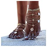 Olbye Gold Barefoot Sandals Foot Chain Jewelry Coin Anklet Bracelet for Women and Girls Beach Wedding Foot Jewelry Pack of 2 (Gold)