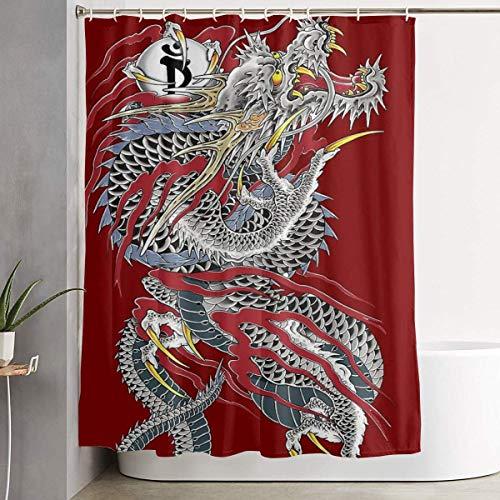 ANTOUZHE Yakuza Drachen-Tattoo-Duschvorhang trocken nass Trennung wasserdicht Badevorhang langlebiges Badezimmer Dekor Set Badezimmer Hotel Dekoration