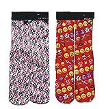 Bo Feng Emoji-Socken für Erwachsene, 2er-Pack mit 100 Emoji-Motiven, für Jungen und Mädchen