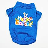 <span class='highlight'><span class='highlight'>Huangzhiping</span></span> Lovely Happy Easter Dogs Cat Cotton Vest T-shirt Pet Easter Bunny Summer Clothes(S Blue)