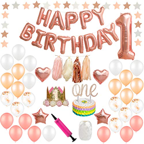 Baby Girl 1st Happy Birthday Decorations – First Birthday Party Decorations Set – Happy Birthday Balloons, ONE Cake Topper, First Birthday Crown, Number 1,Hearts, Stars and Confetti Balloons